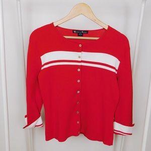 Vintage Varsity Red & White Striped Cardigan